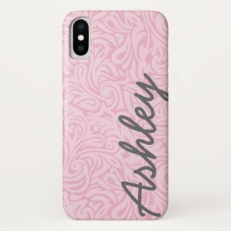 Trendy Floral Pattern with name - pink and grey iPhone XS Case