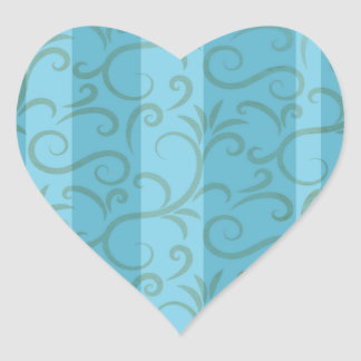 Trendy floral pattern with stripes heart sticker