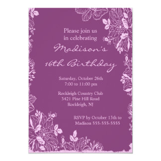 Trendy Floral Sweet Sixteen Birthday Invitation