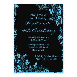 "Trendy Floral Sweet Sixteen Birthday Invitation 5"" X 7"" Invitation Card"