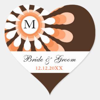 Trendy Floral Wedding Monogram Heart Stickers