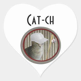 Trendy funny baseball cat cat-ch heart sticker