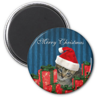 Trendy funny Christmas cute Santa kitten 6 Cm Round Magnet