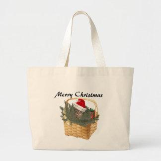 Trendy funny Christmas Santa kitten in the basket Bag
