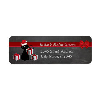 Trendy funny holiday cartoon Santa cat chalkboard Return Address Label