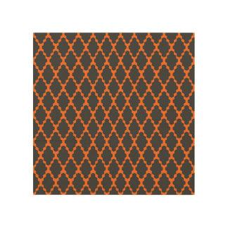 Trendy Geometric Checkered Black Orange Pattern Wood Canvases