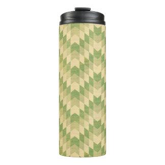 Trendy geometric green chevron pattern thermal tumbler