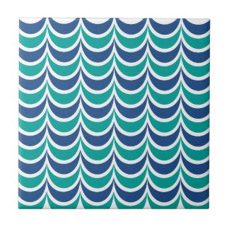 Trendy Geometric Pattern Blue Green Wavy Stripes Ceramic Tile
