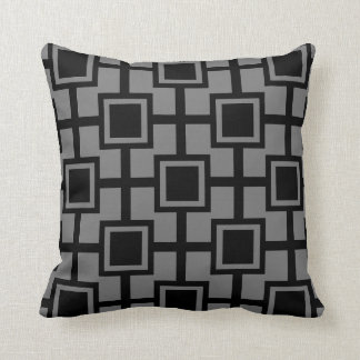 Trendy Geometric Squares Grid | grey Cushion