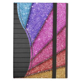 Trendy Geometrical Glitter Stripes Cover For iPad Air