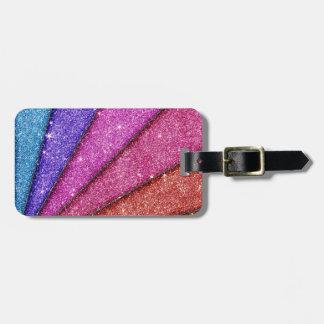 Trendy Geometrical Glitter Stripes Luggage Tag