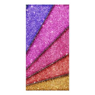 Trendy Geometrical Glitter Stripes Custom Photo Card