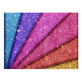 Trendy Geometrical Glitter Stripes Postcard