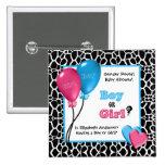 Trendy Giraffe Print Gender Reveal Baby Shower 15 Cm Square Badge