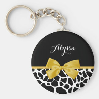 Trendy Giraffe Print Golden Yellow Bow With Name Basic Round Button Key Ring
