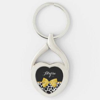 Trendy Giraffe Print Golden Yellow Bow With Name Key Ring