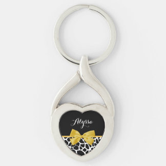 Trendy Giraffe Print Golden Yellow Bow With Name Silver-Colored Twisted Heart Key Ring