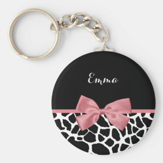 Trendy Giraffe Print Rosy Pink Bow With Name Basic Round Button Key Ring