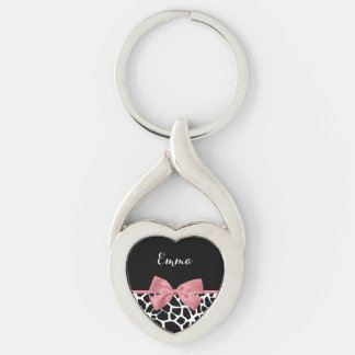 Trendy Giraffe Print Rosy Pink Bow With Name Silver-Colored Twisted Heart Key Ring