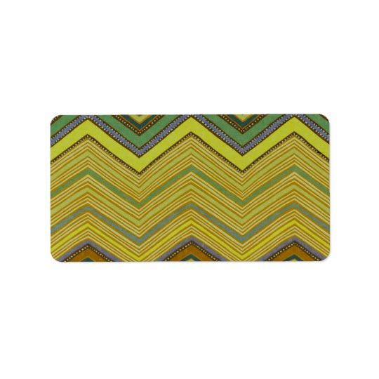 Trendy Girly Brown Yellow Zigzag Pattern Address Label