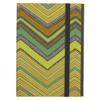 Trendy Girly Brown Yellow Zigzag Pattern iPad Air Cover