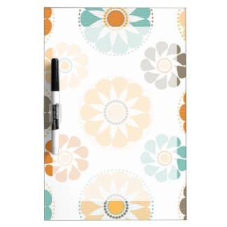 Trendy Girly Flower Pattern Floral Orange Blue Dry-Erase Boards