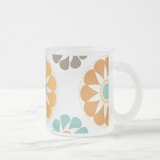 Trendy Girly Flower Pattern Floral Orange Blue Frosted Glass Mug