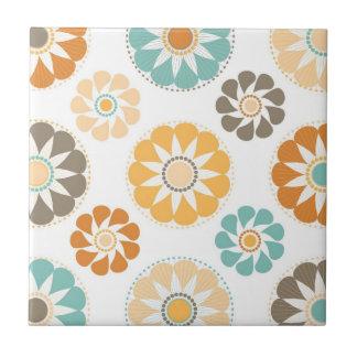 Trendy Girly Flower Pattern Floral Orange Blue Ceramic Tile