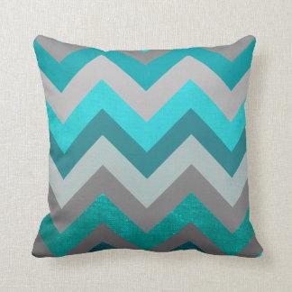 Trendy Girly Gray Teal Chevron Zigzag Pattern Cushion