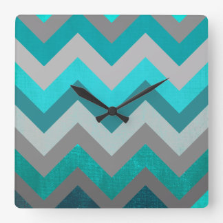 Trendy Girly Gray Teal Chevron Zigzag Pattern Square Wall Clock