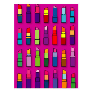 Trendy, girly lipsticks pattern postcard