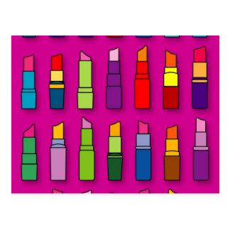 Trendy, girly lipsticks pattern postcard