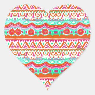 Trendy Girly Orange Teal Tribal Pattern Heart Sticker