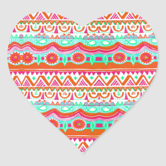 Trendy Girly Orange Teal Tribal Pattern Sticker