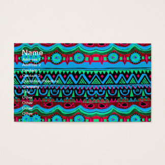 Trendy Girly Pink Blue Tribal Pattern Business Card