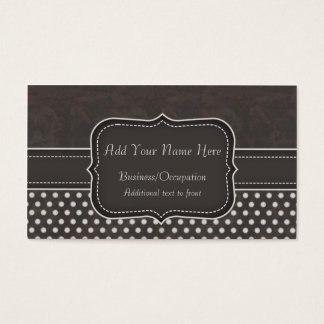 Trendy, Girly Polka Dots Pattern in Charcoal Business Card