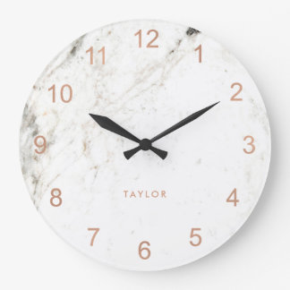 Trendy Glam Faux Rose Gold Look and White Marble Wall Clocks
