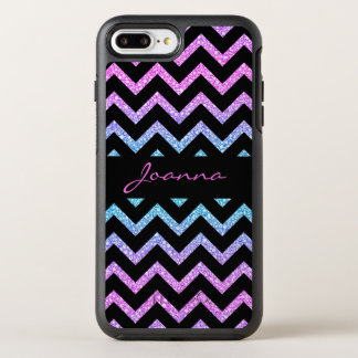 Trendy Glitter And Black Chevron OtterBox Symmetry iPhone 8 Plus/7 Plus Case