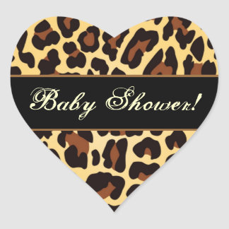 Trendy Gold and Black Leopard Babyl Shower Heart Sticker