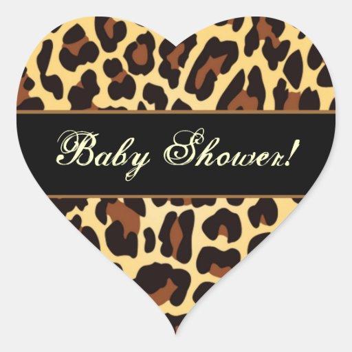 Trendy Gold and Black Leopard Babyl Shower Sticker