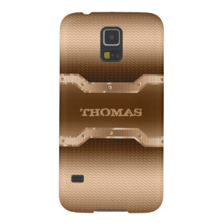 Trendy Gold And Brown Brushed Metal Look Galaxy S5 Covers
