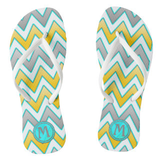 Trendy gold and silver chevron monogram flip flops