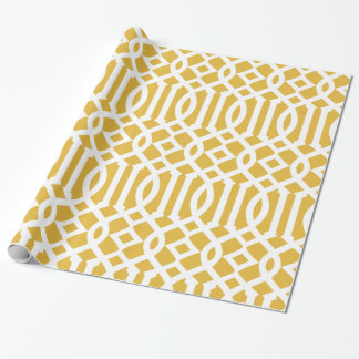 Trendy Gold and White Imperial Trellis Pattern Wrapping Paper