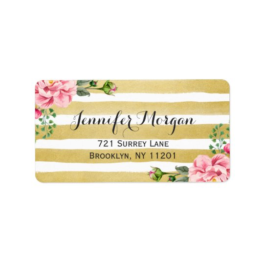 Trendy Gold and White Stripes Watercolor Floral Address Label