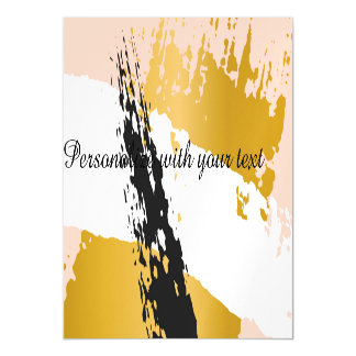 trendy,gold,coral,black,abstract,painting,art,chic magnetic invitations