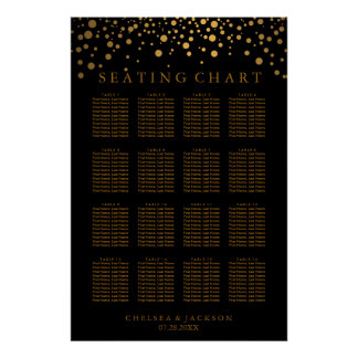 Trendy Gold Dots on Black - Seating Chart Poster