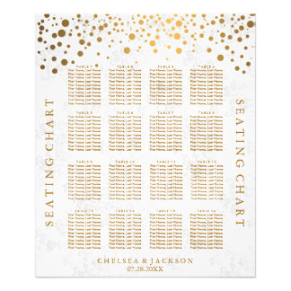 Trendy Gold Dots on Texture Damask - Seating Chart Photographic Print