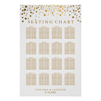 Trendy Gold Dots - Seating Chart Poster