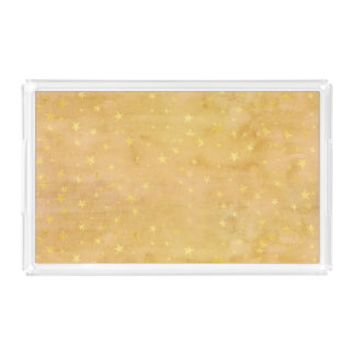 Trendy Gold Foil Stars Watercolor Acrylic Tray