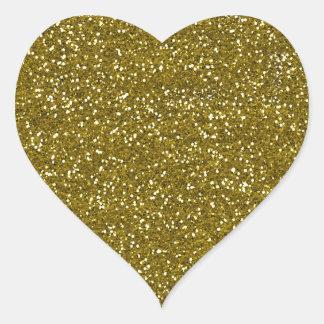 Trendy Gold Glitter Heart Sticker
